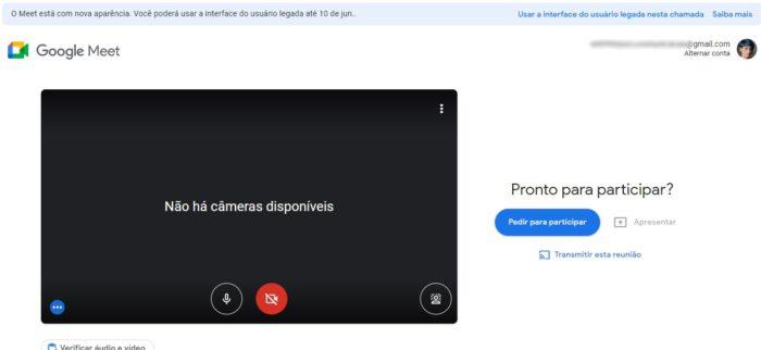 Tela de espera do Google Meet com novo design (Imagem: Reprodução/Google)