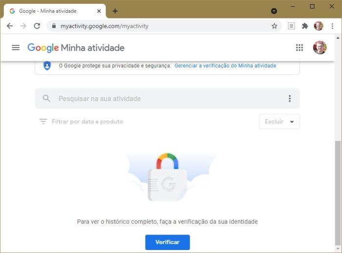 Google Minha Atividade agora pode pedir senha (imagem: Emerson Alecrim/Tecnoblog)