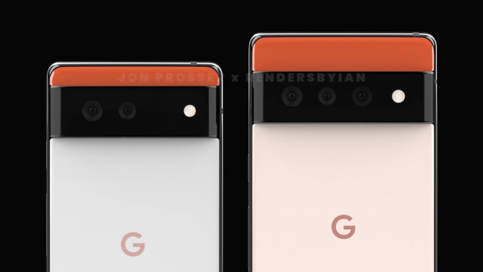Supostos Google Pixel 6 (esquerda) e Pixel 6 Pro (direita) (Imagem: Reprodução/Front Page Tech)