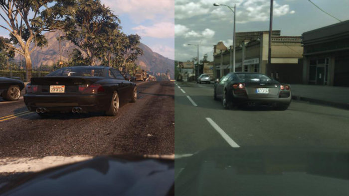 GTA 5, à esquerda, e método do Intel Labs, à direita (Imagem: Divulgação/Intel Labs)