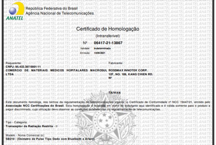 Certificado de homologação da Anatel para oxímetro SB210