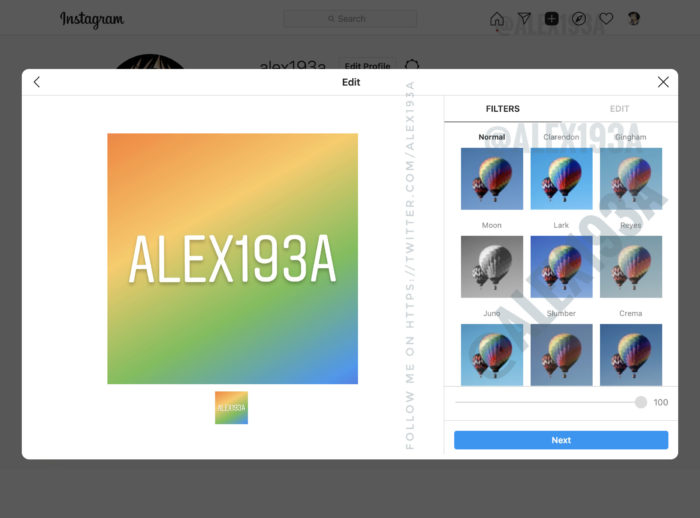 Ferramenta para publicar fotos e vídeos no Instagram pelo PC deve contar com editor de imagens (Imagem: Reprodução/Alessandro Paluzzi/Twitter)