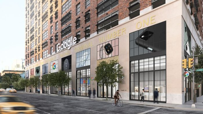 Previsão da fachada da primeira loja física do Google (Imagem: divulgação/Google)