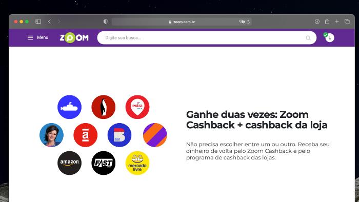 Lojas parceiras do Zoom Cashback (Imagem: Reprodução)