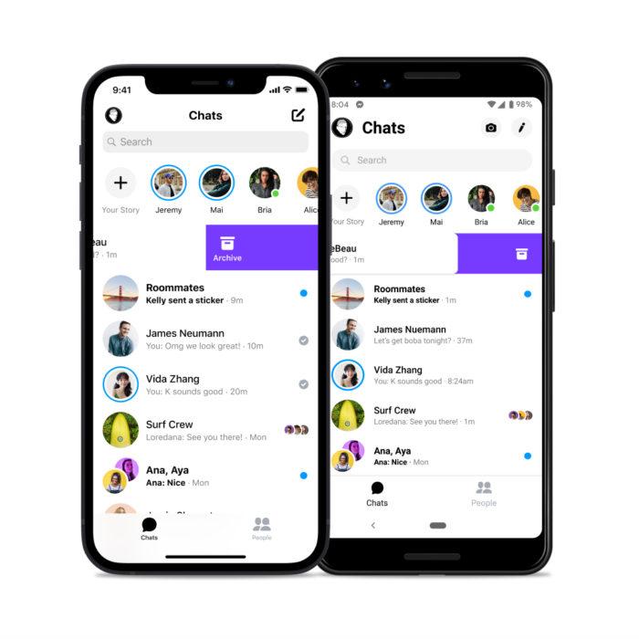 Messenger permite delizar conversa para arquivá-la (Imagem: Divulgação)
