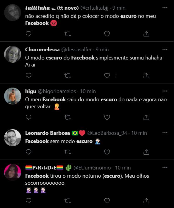"""Modo escuro do Facebook """"sumiu"""" para alguns usuários (Imagem: Reprodução/Twitter)"""