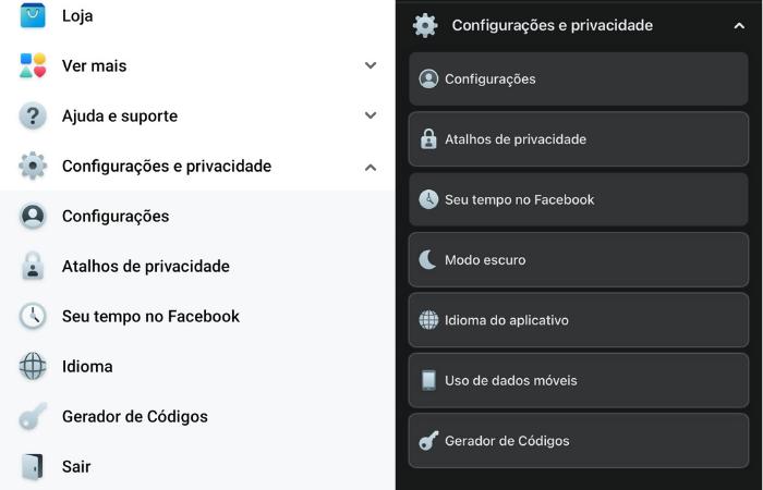Modo escuro do Facebook não aparece nas configurações do Android, mas aparece no iOS (Imagem: Reprodução/Facebook)
