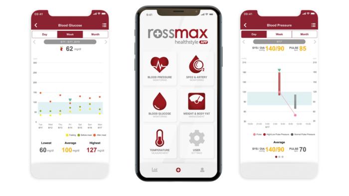 App permite acompanhar informações de saúde pelo celular (Imagem: Divulgação/Rossmax)