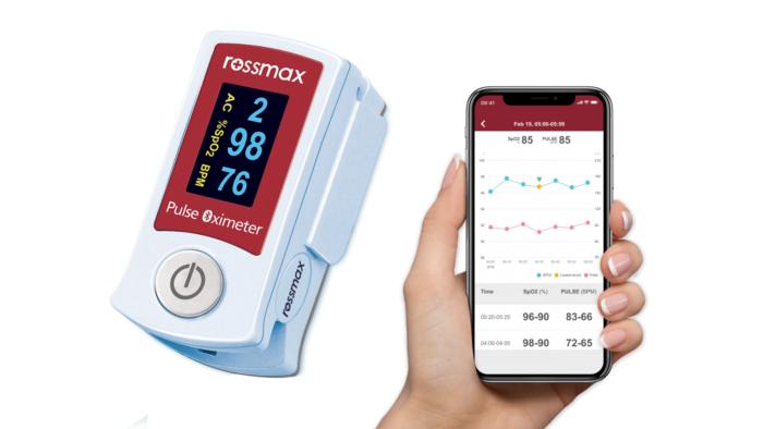 Oxímetro com Bluetooth SB210 da Rossmax (Imagem: Divulgação/Rossmax)
