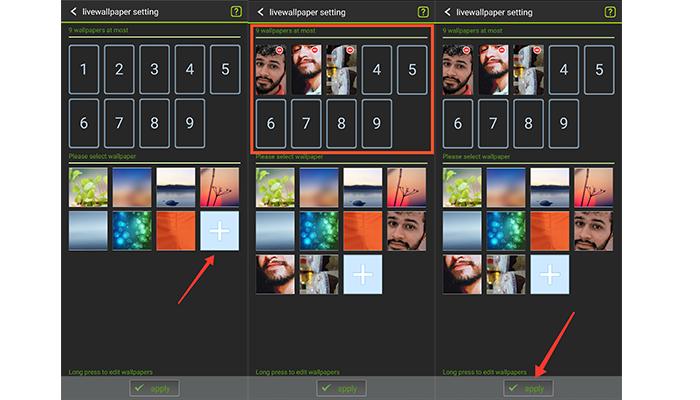 Processo para colocar mais de um papel de parede no Android (Imagem: Reprodução/GO Multiple Wallpaper)