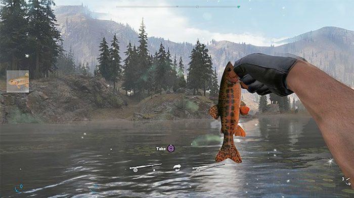 Faça movimentos e canse o peixe antes de puxá-lo (Imagem: Reprodução / Far Cry 5)