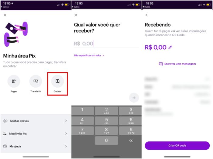 Cobre aum Pix por QR Code  no app do Nubank (Imagem: Reprodução/Nubank)