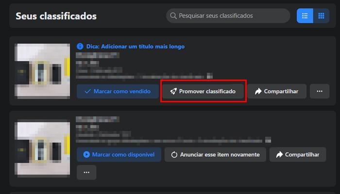 Processo para impulsionar um anúncio no Marketplace do Facebook (Imagem: Reprodução/Facebook)