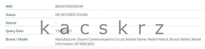 Suposto Redmi Note 8 (2021) dá as caras em registro da FCC (Imagem: Reprodução/Kacper Skrzypek/Twitter)