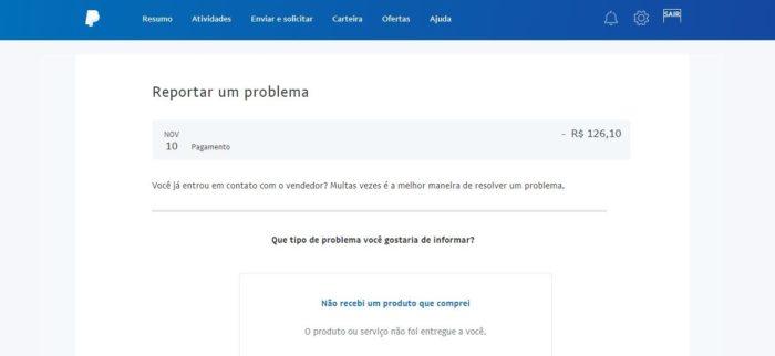 É possível abrir disputa para solucionar alguns casos na Central de Soluções do PayPal (Imagem: Reprodução / PayPal)