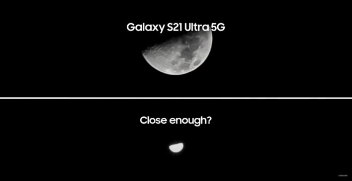 Foto da lua com <a href='https://meuspy.com/tag/Espionar-Galaxy'>Galaxy</a> S21 Ultra vs iPhone 12 Pro Max (Imagem: Reprodução/Samsung)