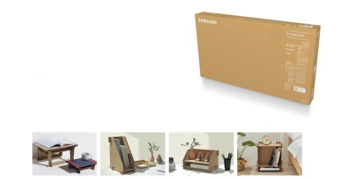 Samsung Crystal UHD tem embalagem reutilizável (Imagem: Divulgação/Samsung)