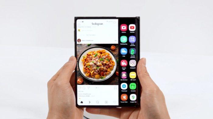 Samsung Display exibe celular com tela enrolável (Imagem: Divulgação/Samsung Display)