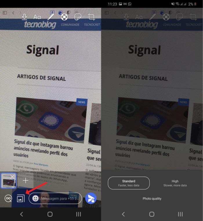 Signal Beta para Android ganha opção para escolher qualidade para enviar imagens (Imagem: Reprodução/Tecnoblog)