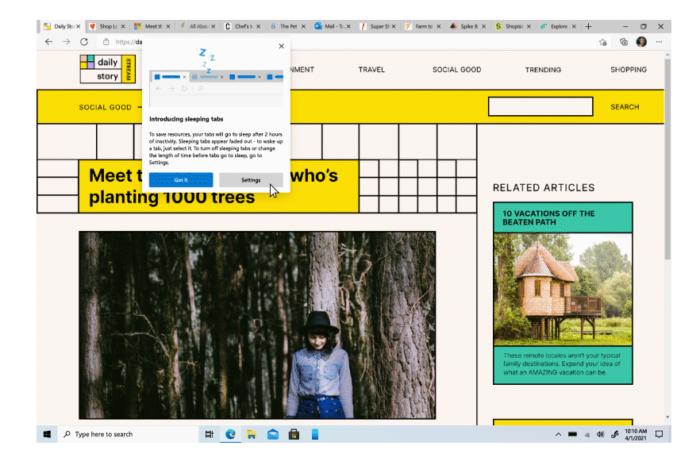Sleeping tabs permite colocar guias não usadas em modo de espera (Imagem: Reprodução/Microsoft)