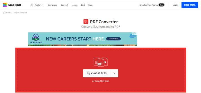 O Small PDF é uma solução para conversão online de arquivos para PDF (Imagem: Reprodução / Small PDF)