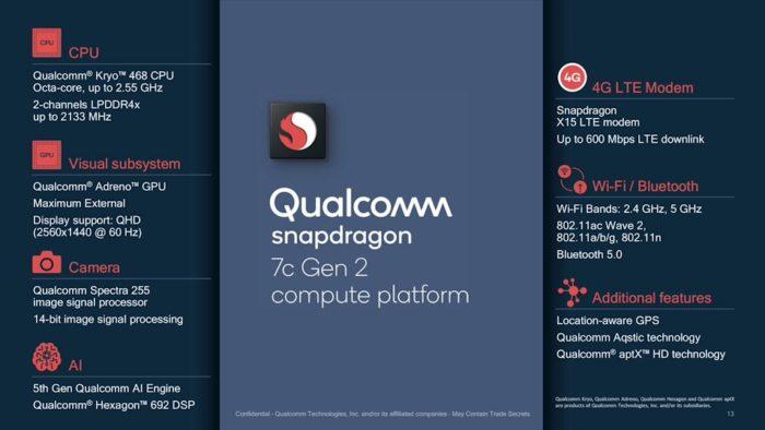 Specs do Qualcomm Snapdragon 7c Gen 2