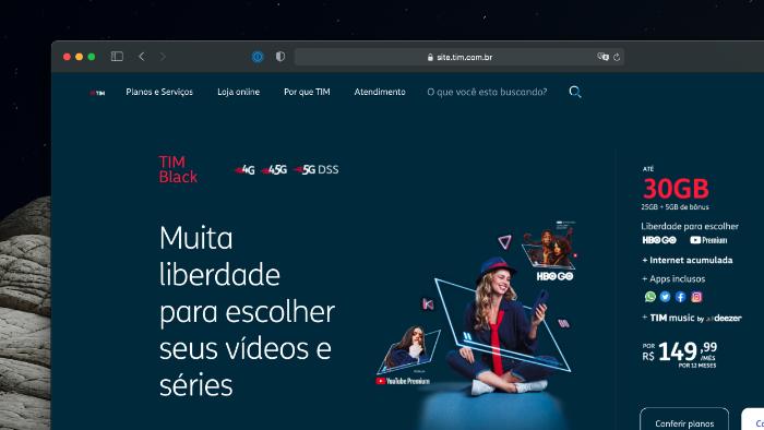 TIM Black de 30 GB tem HBO Go ou YouTube Premium grátis (Imagem: Reprodução)