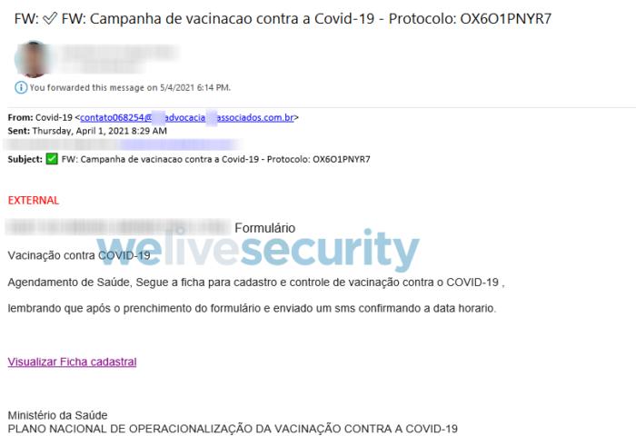Trojan bancário usa vacinação contra COVID-19 (Imagem: Reprodução/ESET)