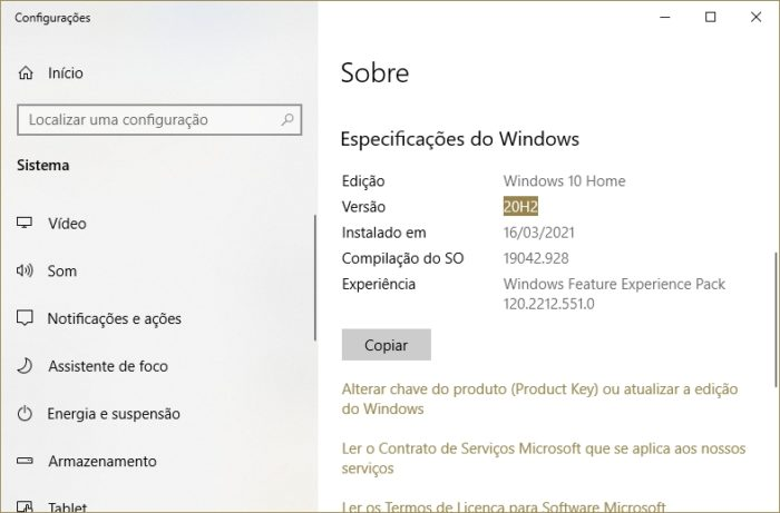 Versão do Windows 10 (imagem: Emerson Alecrim/Tecnoblog)