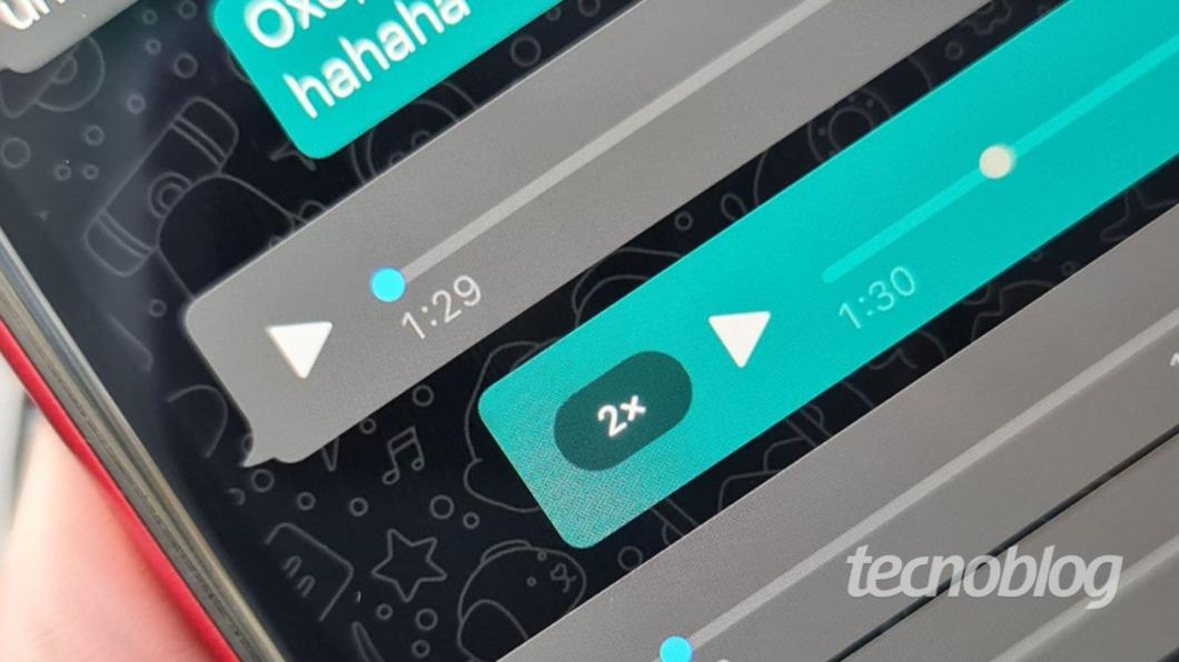 Botão para acelerar áudio no WhatsApp (Imagem: Ana Marques/Tecnoblog)