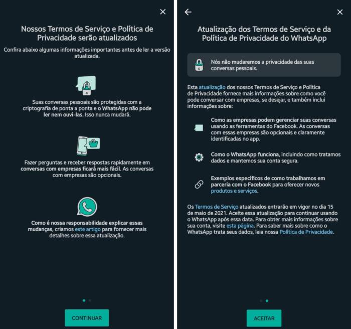 Aviso do WhatsApp sobre nova política de privacidade (Imagem: Reprodução)