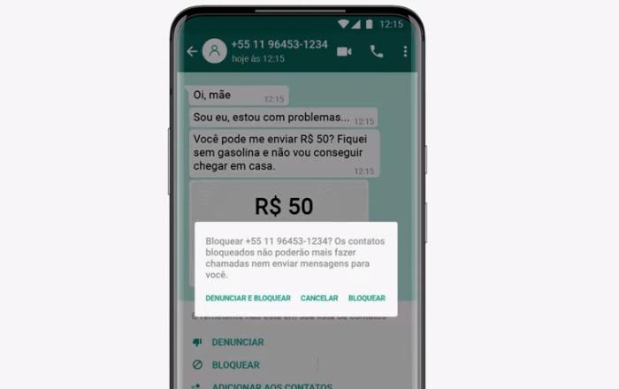 Bloqueie e denuncie mensagens suspeitas no WhatsApp (Imagem: Divulgação/WhatsApp)