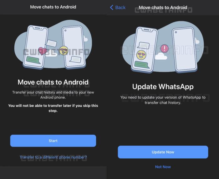 WhatsApp prepara função para migrar histórico de conversas para outro número (Imagem: Reprodução/WABetaInfo)