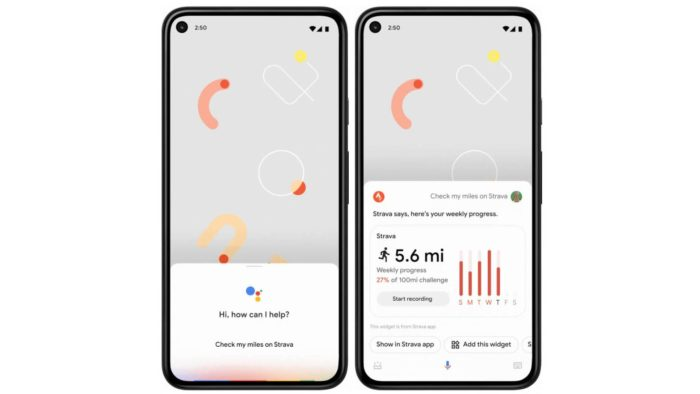 Widget do Strava no Google Assistente (imagem: Android Police)