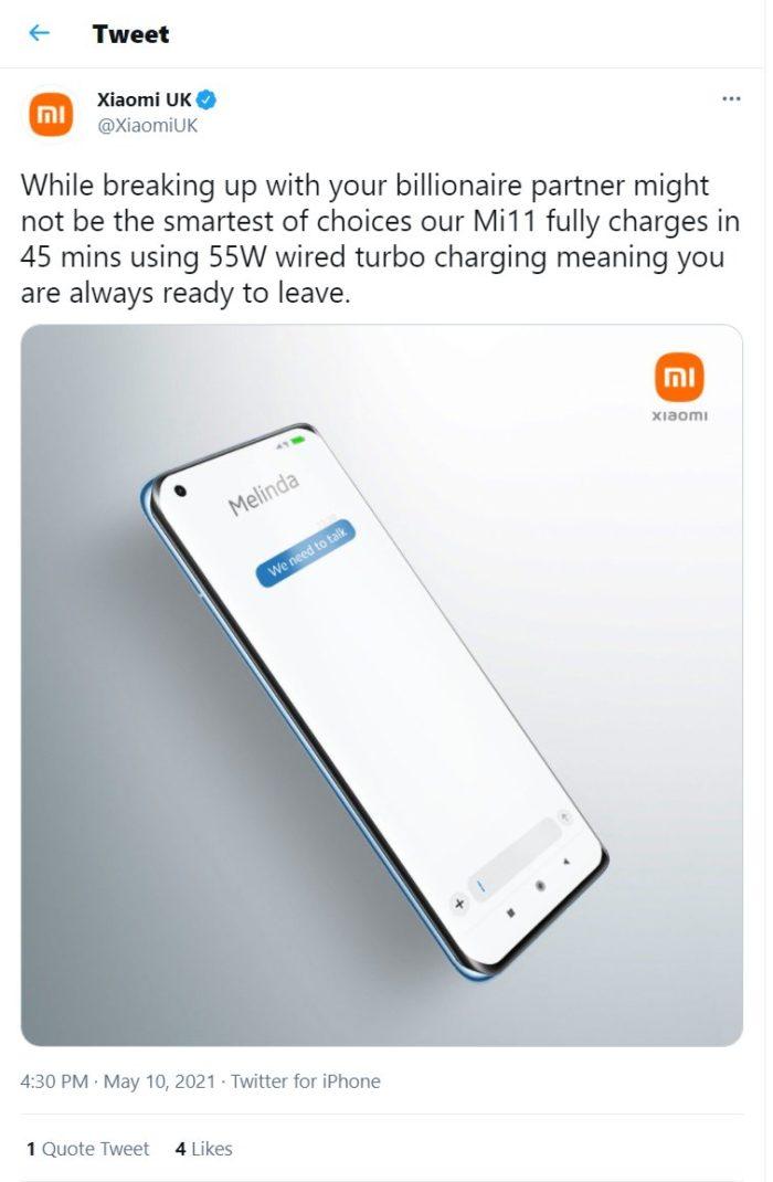 Tweet da Xiaomi sobre separação de Bill e Melinda Gates (Imagem: Reprodução/Max Weinbach/Twitter)