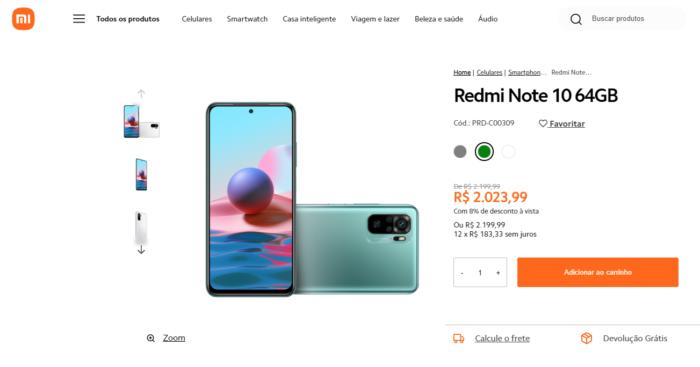 Xiaomi Redmi Note 10 à venda no Brasil (Imagem: Reprodução/Tecnoblog)