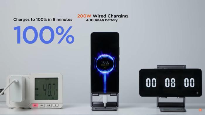 Xiaomi revela recarga com fio de 200 watts (Imagem: Reprodução/Xiaomi/YouTube)