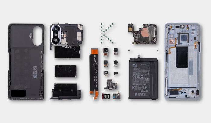 Desmanche do Redmi K40 Gaming Edition (Imagem: Reprodução/Gizmochina/Xiaomi)