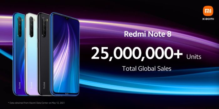 25 milhões de unidades do Redmi Note 8 foram vendidas globalmente, segundo Xiaomi (Imagem: Divulgação/Xiaomi)