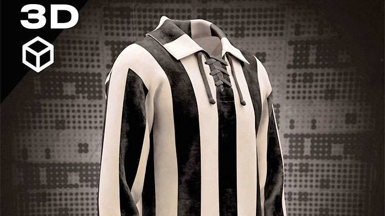 Camisa de 1914 do Atlético Mineiro que se tornou o primeiro ativo digital NFT do clube (Imagem: Divulgação)