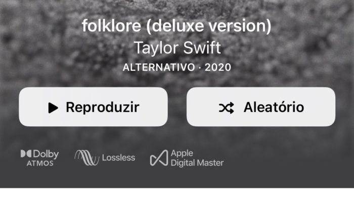 Áudio Lossless e Dolby Atmos no Apple Music (Imagem: reprodução/Apple Music)