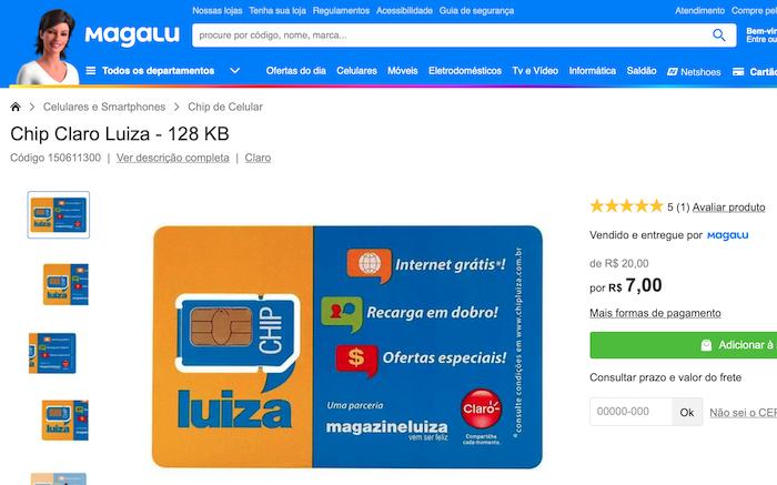 """Site da Magazine Luiza comercializa """"Chip Claro Luiza"""""""