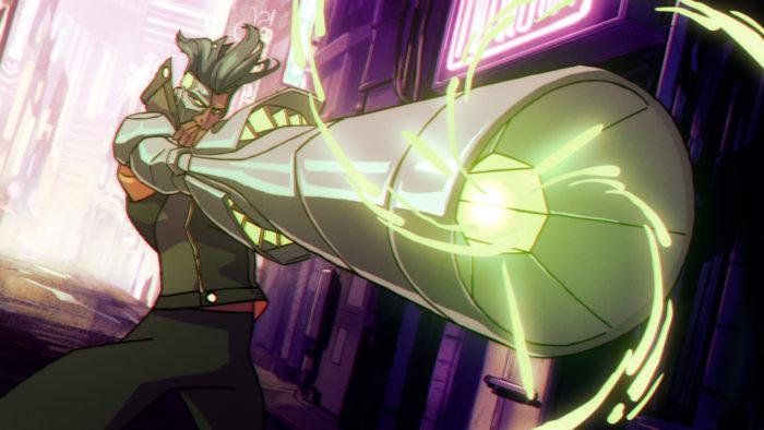 Dolph Laserhawk, protaginista de Captain Laserhawk: A Blood Dragon Remix (Imagem: Divulgação/Ubisoft)