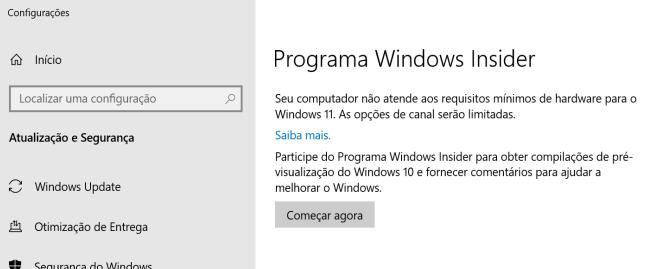 Windows 11 não rodará nesse PC (Imagem: Reprodução)