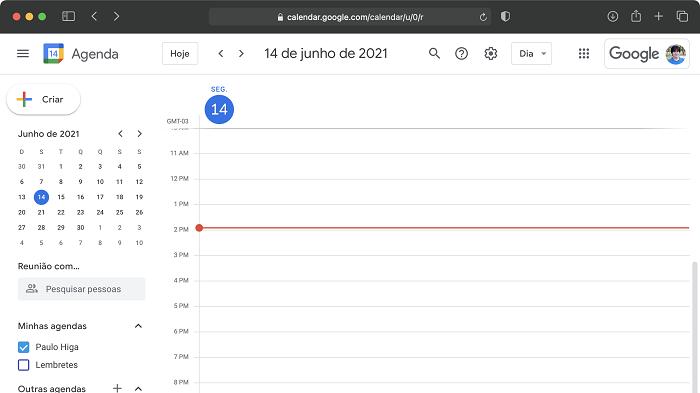 Como definir o horário de trabalho na agenda do Google (Imagem: Paulo Higa/Reprodução)