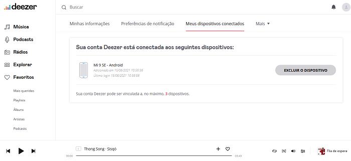 Como desconectar o Deezer de outros dispositivos (Imagem: Leandro Kovacs/Reprodução)