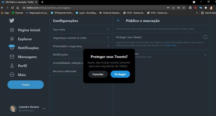 Como privar sua conta no Twitter (Imagem: Leandro Kovacs/Reprodução)