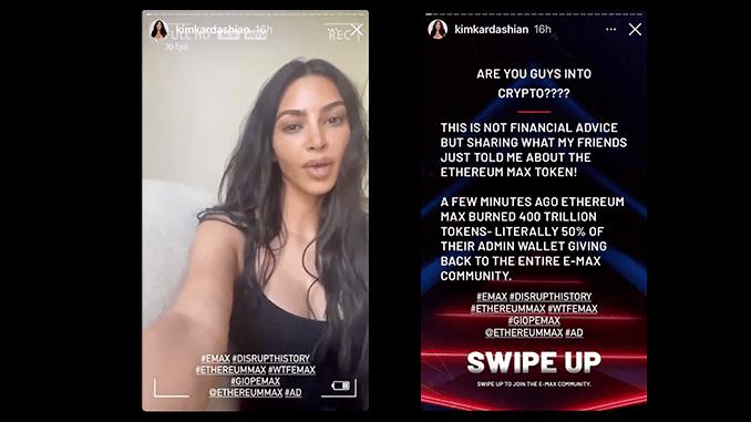 Kim Kardashian promove nova criptomoeda Ethereum Max em seu Instagram (Imagem: Reprodução/Instagram)