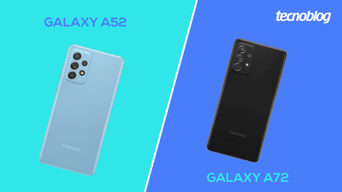 Galaxy A52 vs Galaxy A72 (Imagem: Vitor Pádua/Tecnoblog)