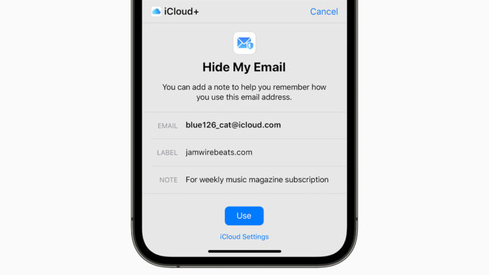 Hide My Email, the new iCloud feature (Image: Press / Apple)